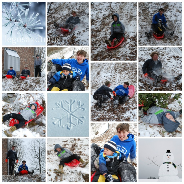 We had lots of sledding fun on our snow day!