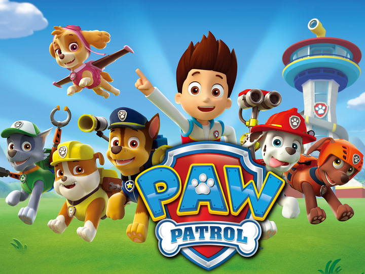 Pictured: (flying) Skye,  (l-r) Zuma, Rubbble, Chase, Ryder,Marshall and Rocky  in  PAW PATROL on NICKELODEON.  Photo: Nickelodeon. ©2013 Viacom, International, Inc.  All Rights Reserved